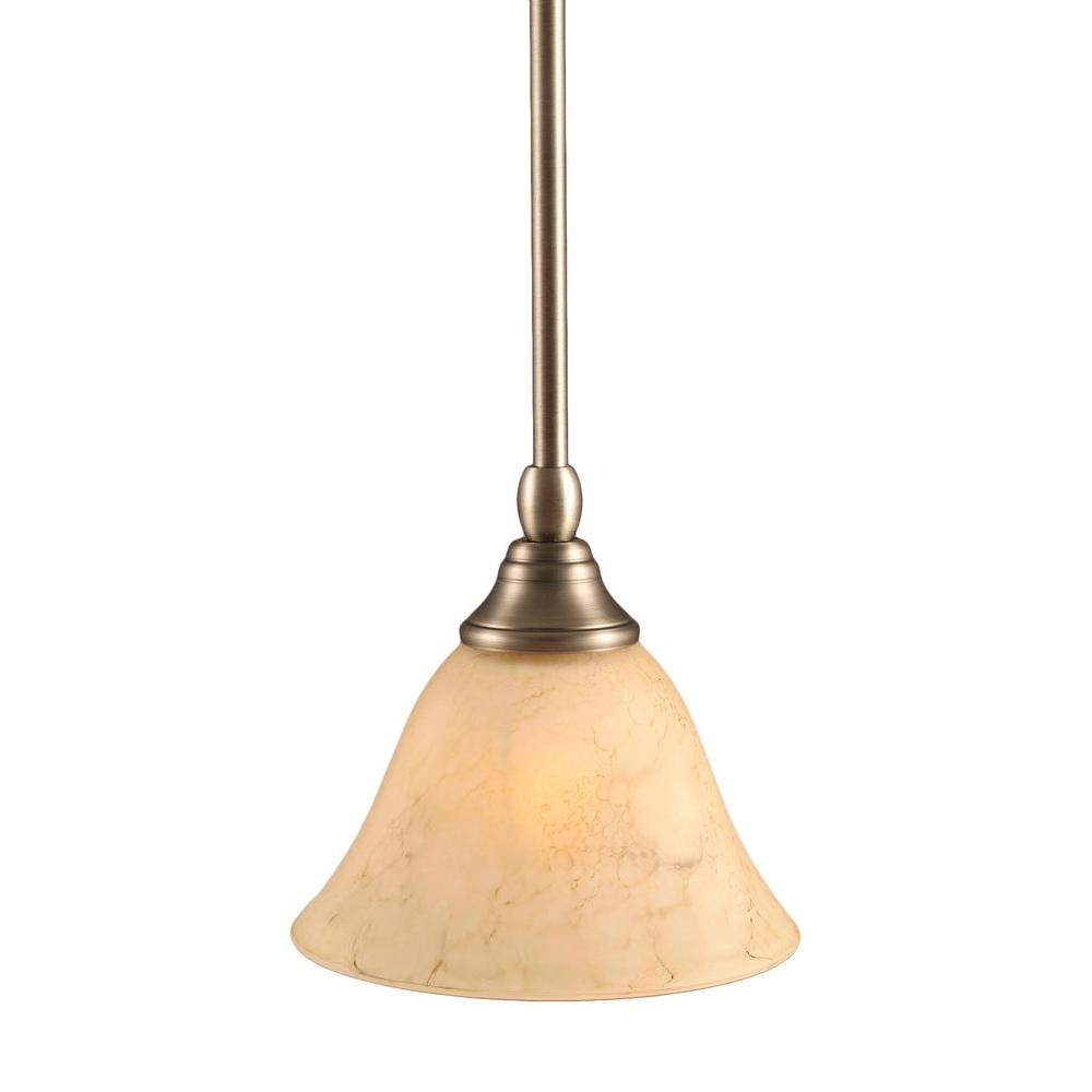 Filament Design Alaniz 1-Light Brushed Nickel Pendant with Italian Marble Glass
