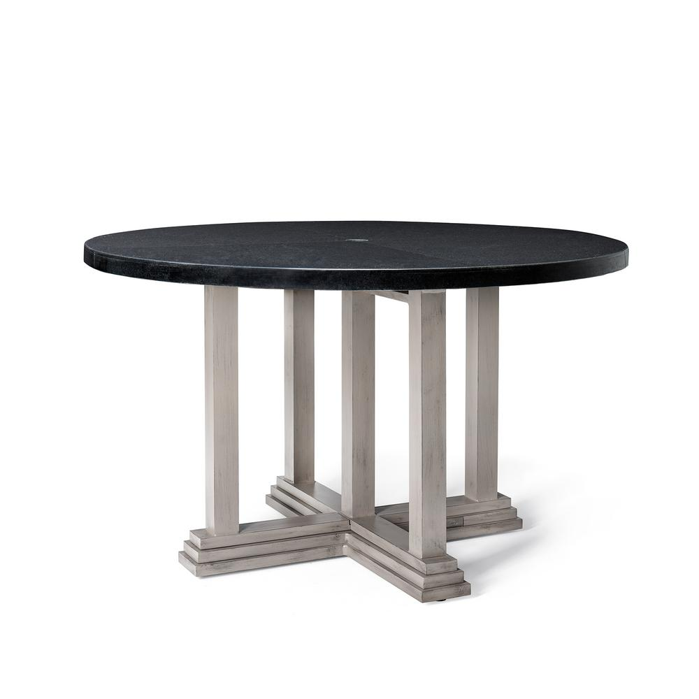 Home styles marble top round outdoor dining table 5605 30 for Round stone top dining table