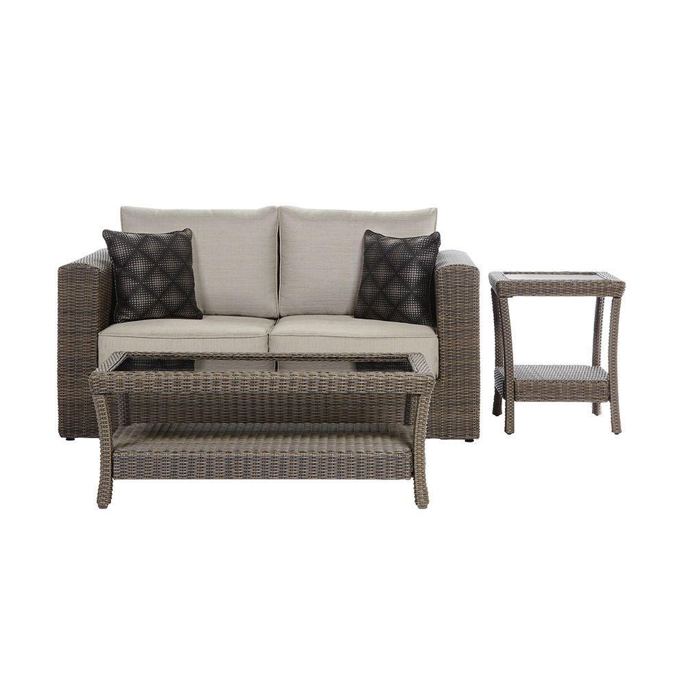 Home Decorators Collection Naples Marrone Grey 3-Piece Patio Deep Seating Set