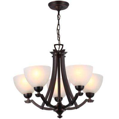 Destiny 6-Light Oil Rubbed Bronze Chandelier with White Linen Glass Shade