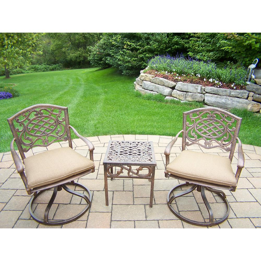 Mississippi 3-Piece Aluminum Outdoor Bistro Set with Beige Cushions