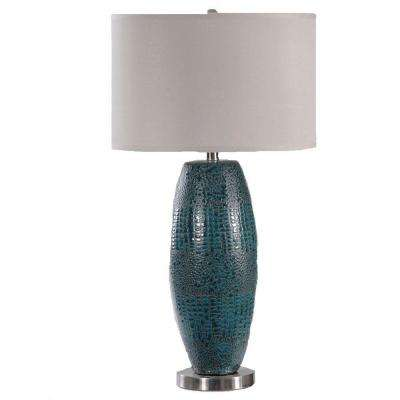 28.75 in. Turquoise Blue Pearlized Ceramic Table Lamp