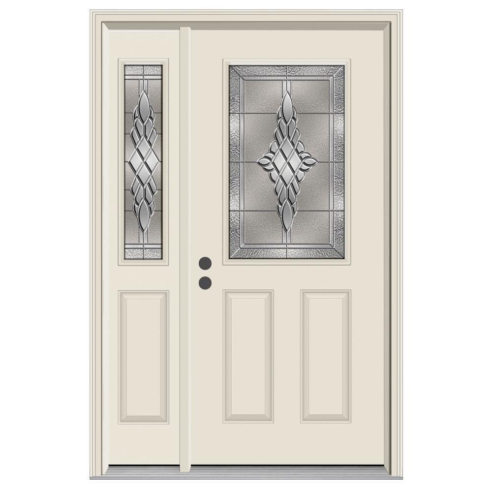 52 in. x 80 in. 1/2 Lite Hadley Primed Steel Prehung Right-Hand Inswing Front Door with Left-Hand Sidelite