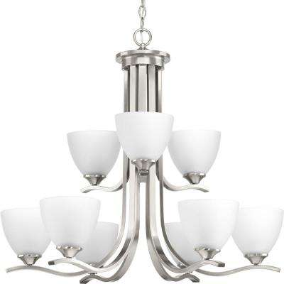 Laird Collection 9-Light Brushed Nickel Chandelier with Shade