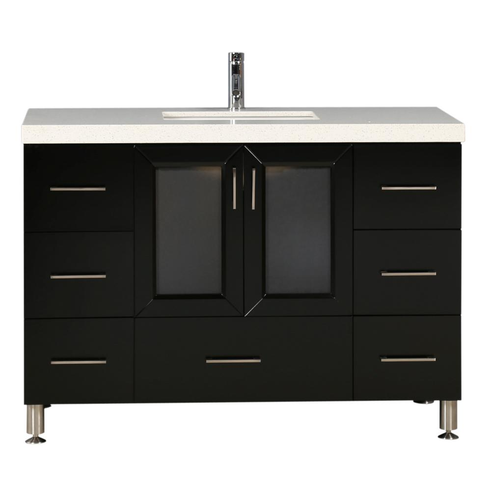 Design Element Westfiled 48 in. W x 22 in. D Bath Vanity in Espresso with Quartz Vanity Top in White with White Basin