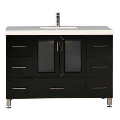 Westfiled 48 in. W x 22 in. D Vanity in Espresso with Quartz Vanity Top in White with White Basin