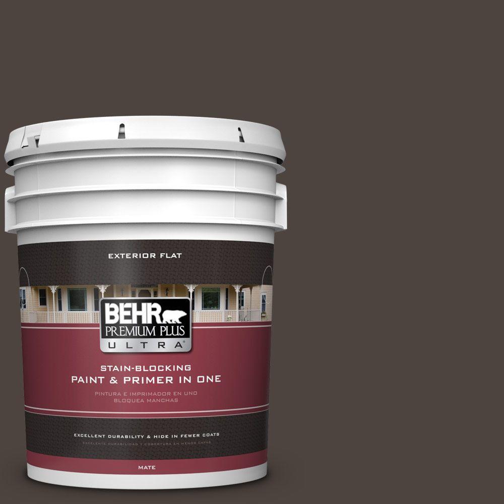 BEHR Premium Plus Ultra 5-gal. #PPU5-1 Espresso Beans Flat Exterior Paint