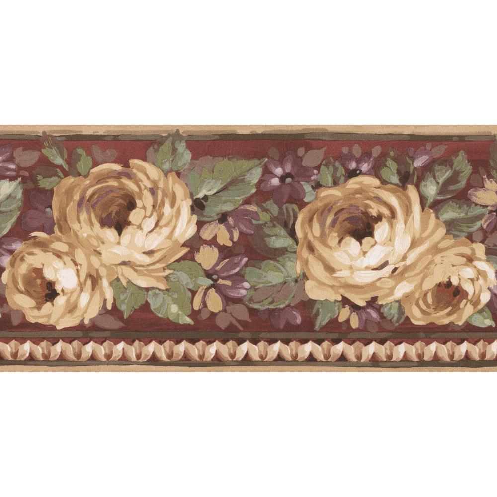 Norwall Bloomed Yellow Roses Purple Floral Prepasted Wallpaper