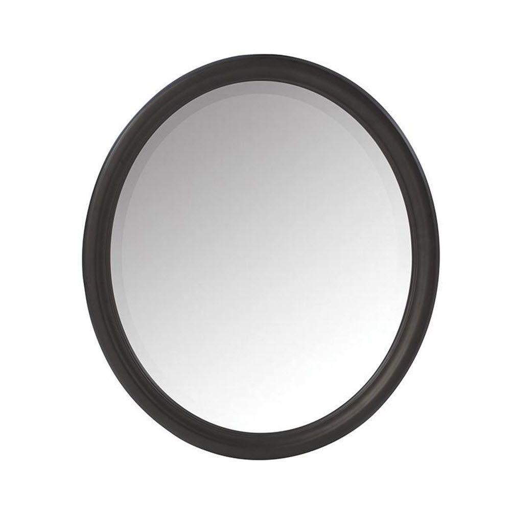 Newport 32 in. H x 28 in. W Framed Wall Mirror in Black