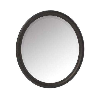 Newport 32 in. H x 28 in. W Framed Wall Mirror in Black