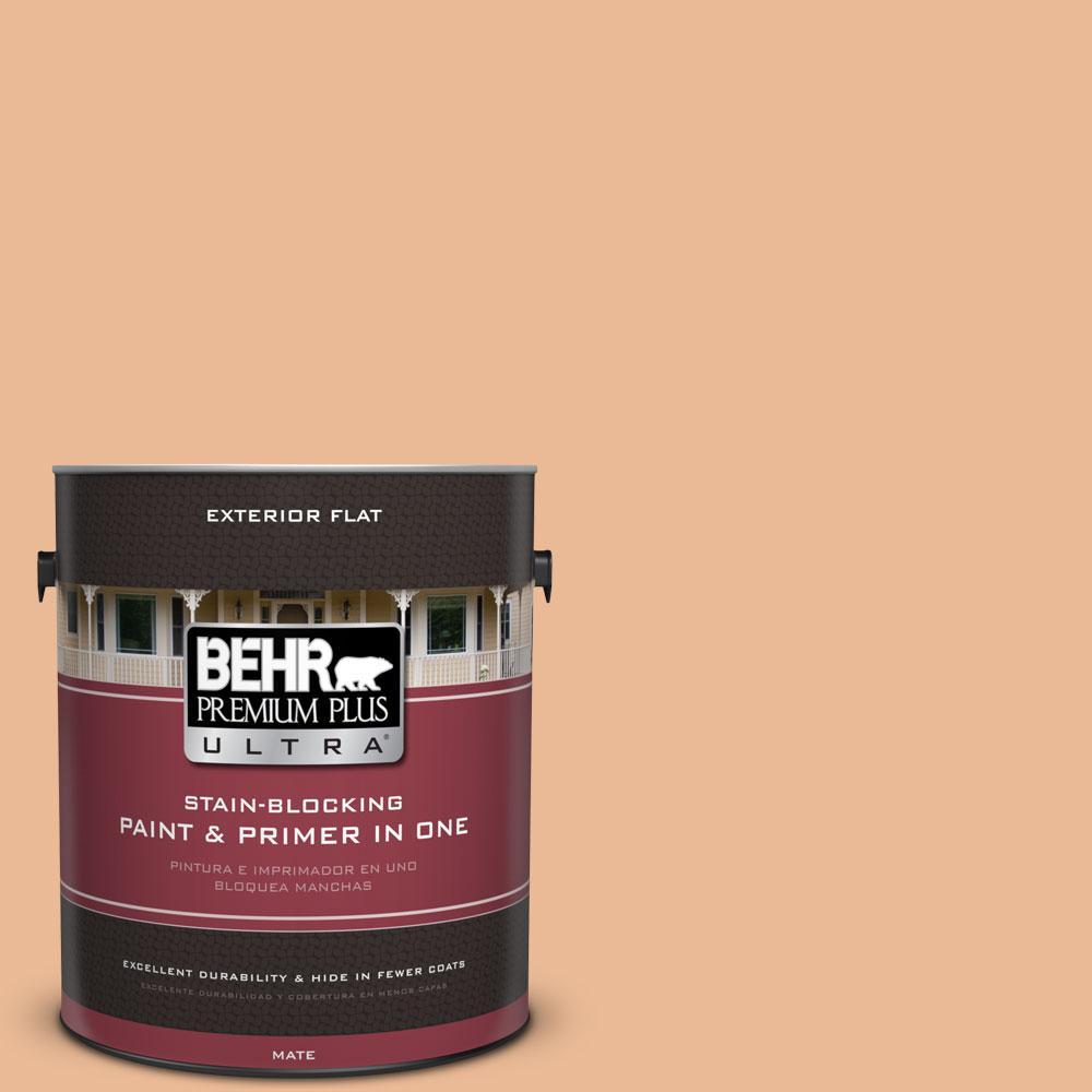 BEHR Premium Plus Ultra 1-gal. #280C-3 Fresh Praline Flat Exterior Paint