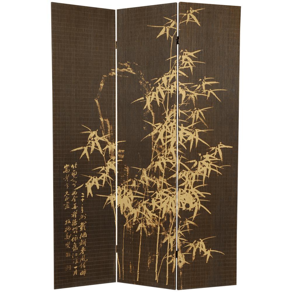 6 ft. Brown 3-Panel Bamboo Design Room Divider