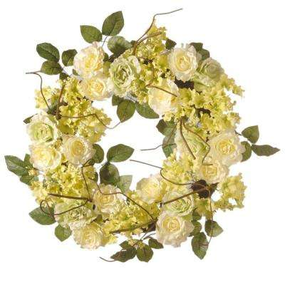 24 in. Green and Cream Rose Wreath