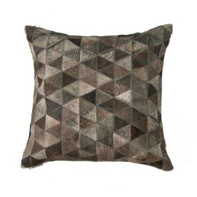 Torino Classic Madrid Gray Cowhide Decorative Pillow