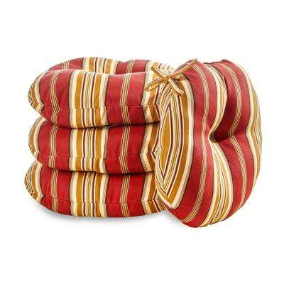 Roma Stripe 18 in. Round Outdoor Seat Cushion (4-Pack)