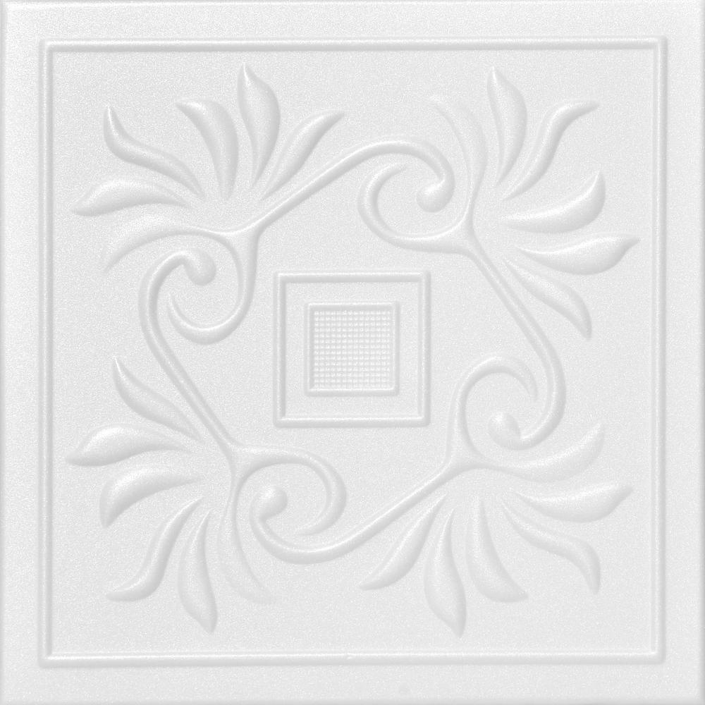 Cockatoos 1.6 ft. x 1.6 ft. Foam Glue-up Ceiling Tile in Plain White (21.6 sq. ft. / case)