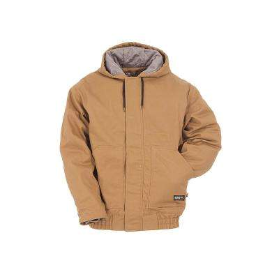 Men's Large Regular Brown Duck Cotton and Nylon Hooded Jacket