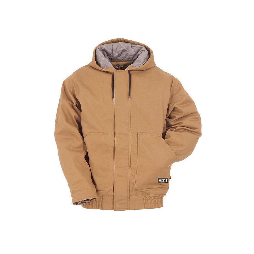 Men's 4 XL Regular Brown Duck Cotton and Nylon Hooded Jacket