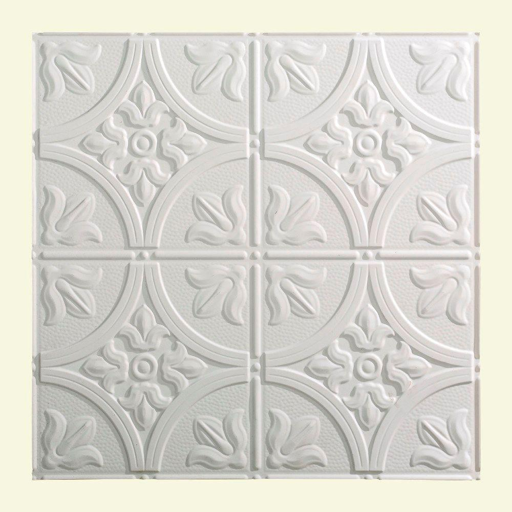 fasade traditional 2 - 2 ft. x 2 ft. lay-in ceiling tile in gloss