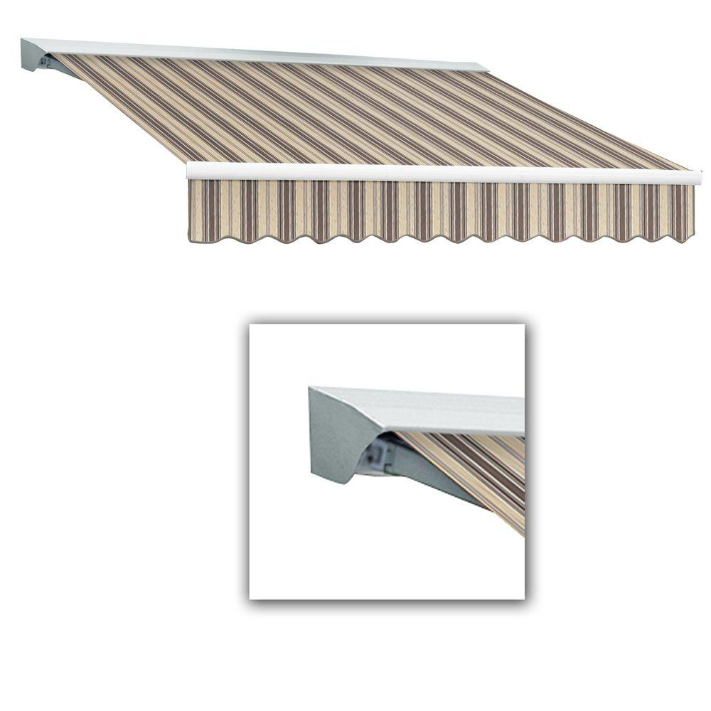 AWNTECH 18 ft. Destin-LX Manual Retractable Acrylic Awning with Hood (120 in. Projection) in Taupe Multi