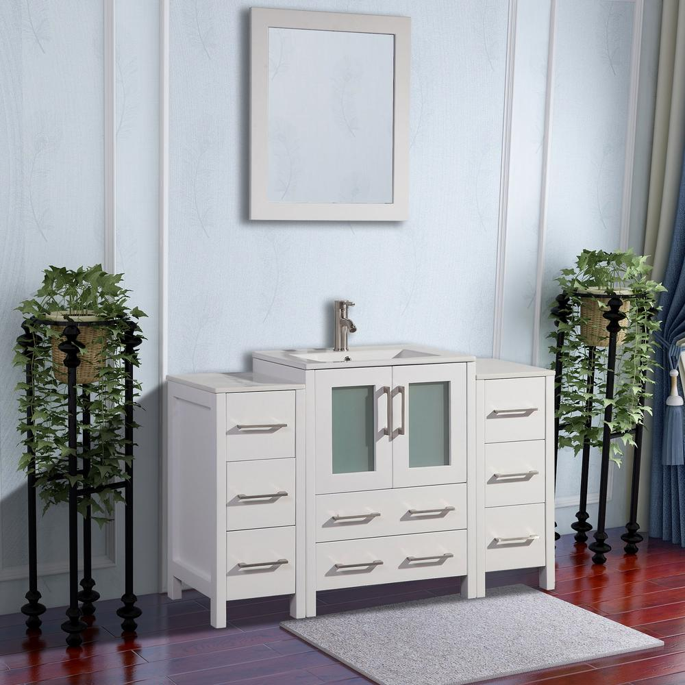 Vanity Art Brescia 48 in. W x 18 in. D x 36 in. H Bathroom Vanity in White with Basin Vanity Top in White Ceramic and Mirror