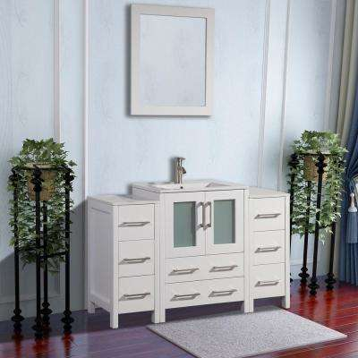 Brescia 48 in. W x 18 in. D x 36 in. H Bathroom Vanity in White with Basin Vanity Top in White Ceramic and Mirror