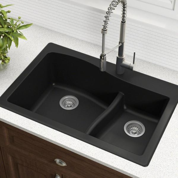 Kraus Quarza Drop In Undermount Granite Composite 33 In 1 Hole 60 40 Double Bowl Kitchen Sink In Black Kgd 442black The Home Depot