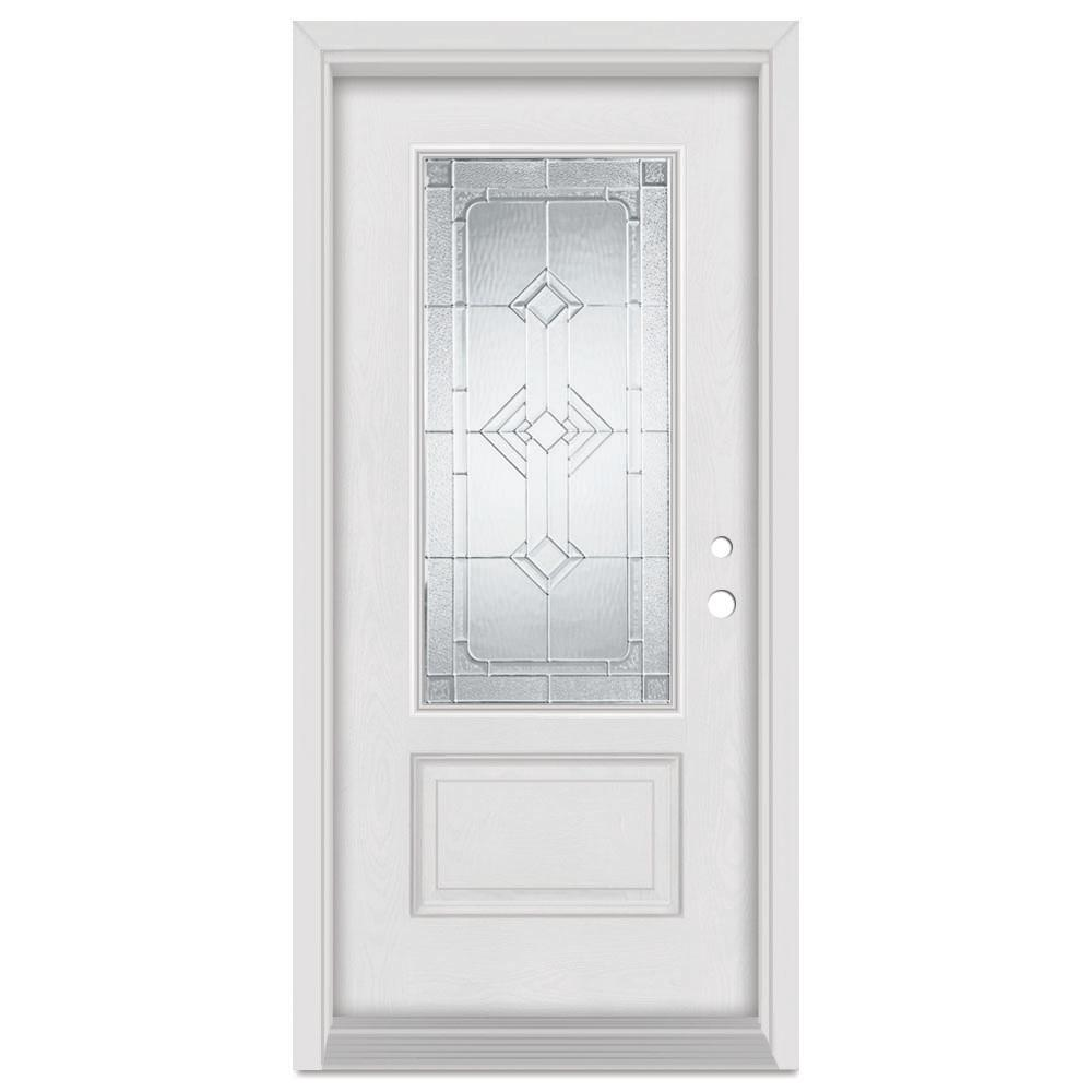 Stanley Doors 33.375 in. x 83 in. Neo-Deco Left-Hand Zinc Finished Fiberglass Mahogany Woodgrain Prehung Front Door Brickmould