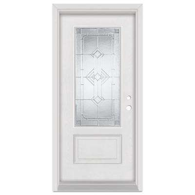 33.375 in. x 83 in. Neo-Deco Left-Hand Zinc Finished Fiberglass Mahogany Woodgrain Prehung Front Door Brickmould