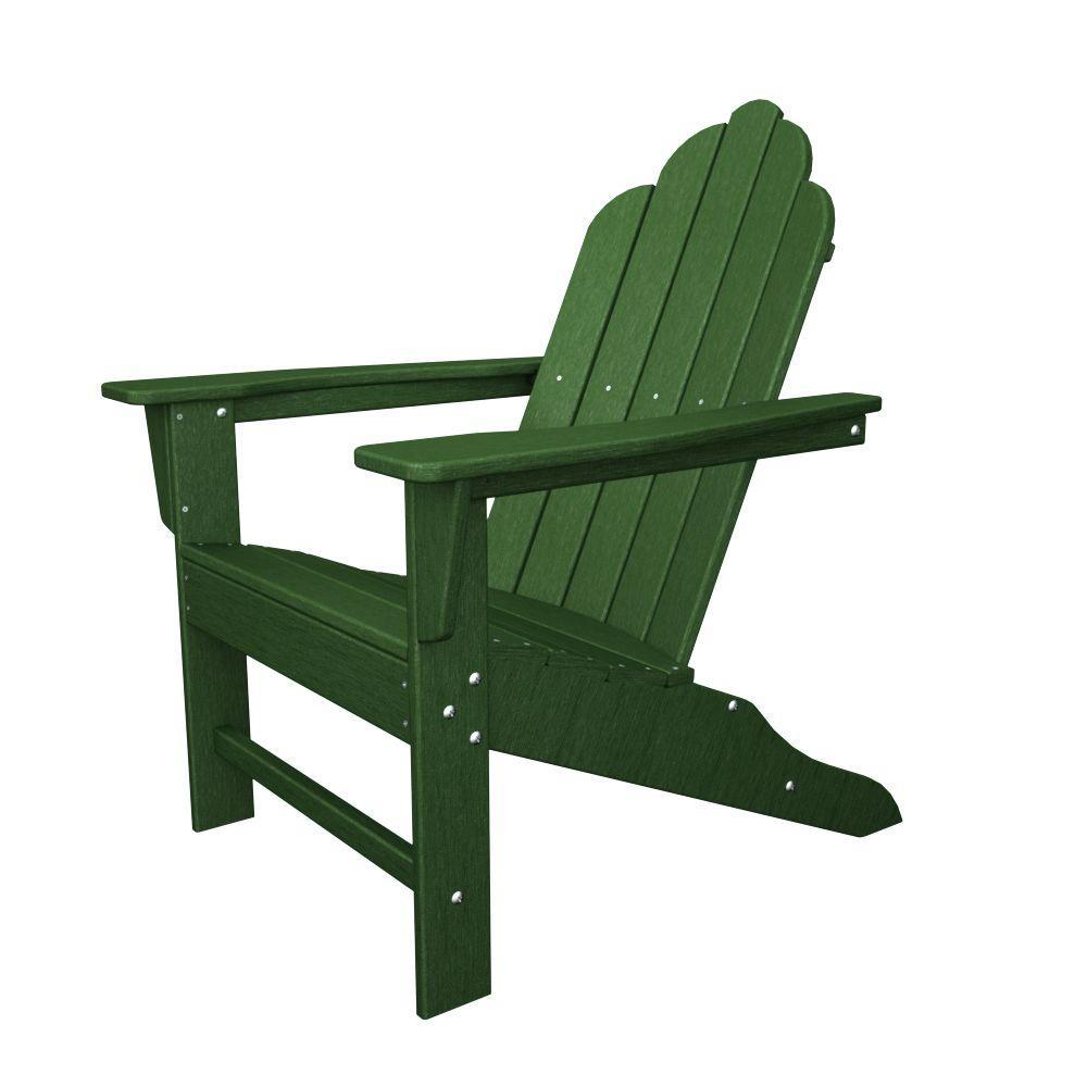 POLYWOOD Long Island Green Plastic Patio Adirondack Chair