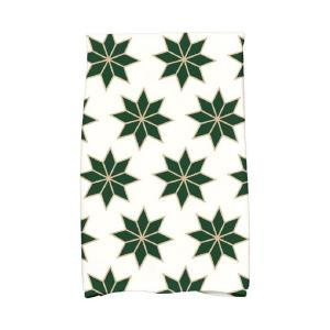 16 inch x 25 inch Dark Green Christmas Stars-2 Holiday Geometric Print Kitchen Towel by
