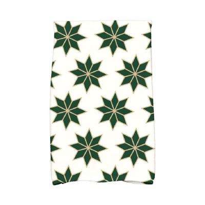 16 in. x 25 in. Dark Green Christmas Stars-2 Holiday Geometric Print Kitchen Towel