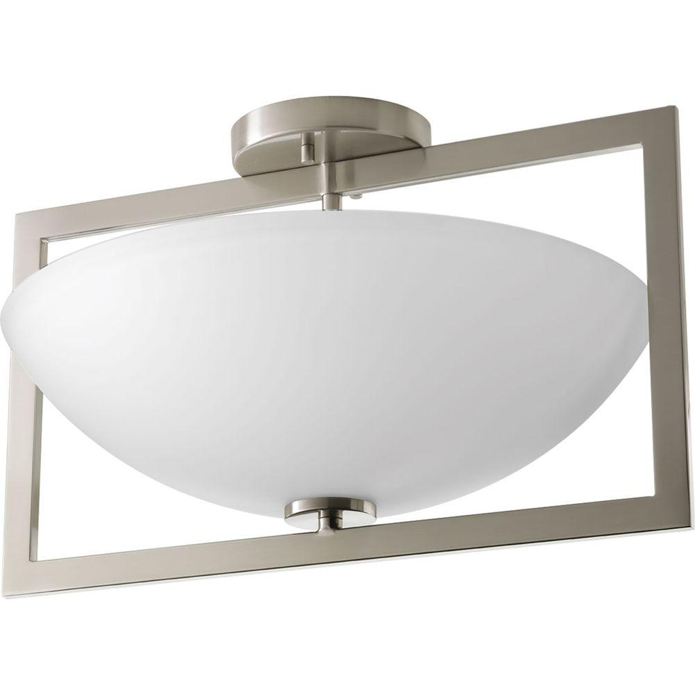 ae034aa88f7 Progress Lighting Alexa Collection 2 Light Brushed Nickel Semi. Progress  lighting 3 light brushed nickel flushmount ...