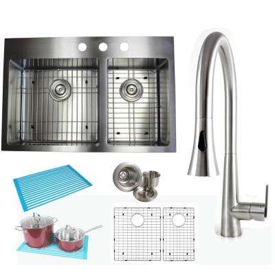 Topmount Drop-In 16-Gauge Stainless Steel 33 in. x 22 in x 10 in. 60/40 Offset Double Bowl Kitchen Sink and Faucet Combo