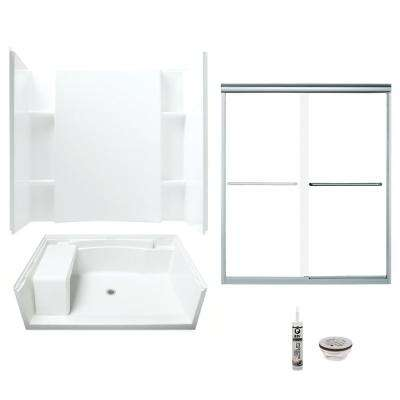 Accord 36 in. x 60 in. x 74.75 in. Center Drain and Backers Alcove Shower Kit in White and Chrome