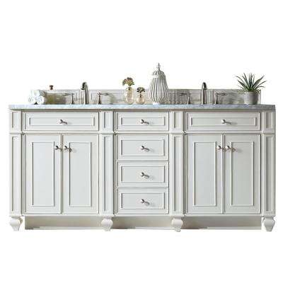Bristol 72 in. W Double Vanity in Cottage White with Marble Vanity Top in Carrara White with White Basin