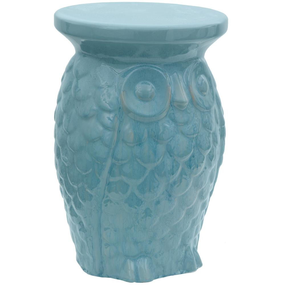 Oriental Furniture Blue Owl Porcelain Ottoman
