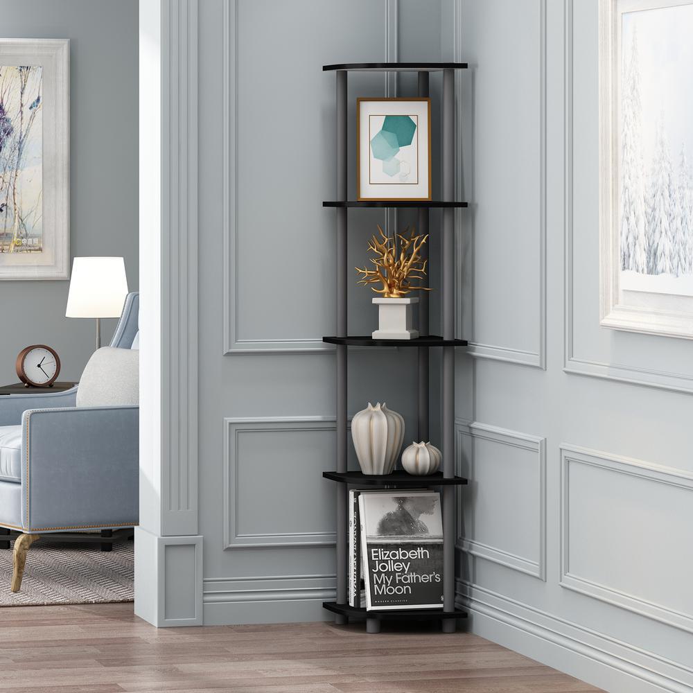 57.7 in. Black/Gray Plastic 5-shelf Corner Bookcase with Open Storage