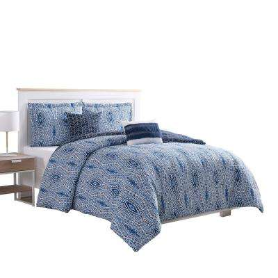 Darhma Aztec 5-Piece Navy Reversible King Comforter Set