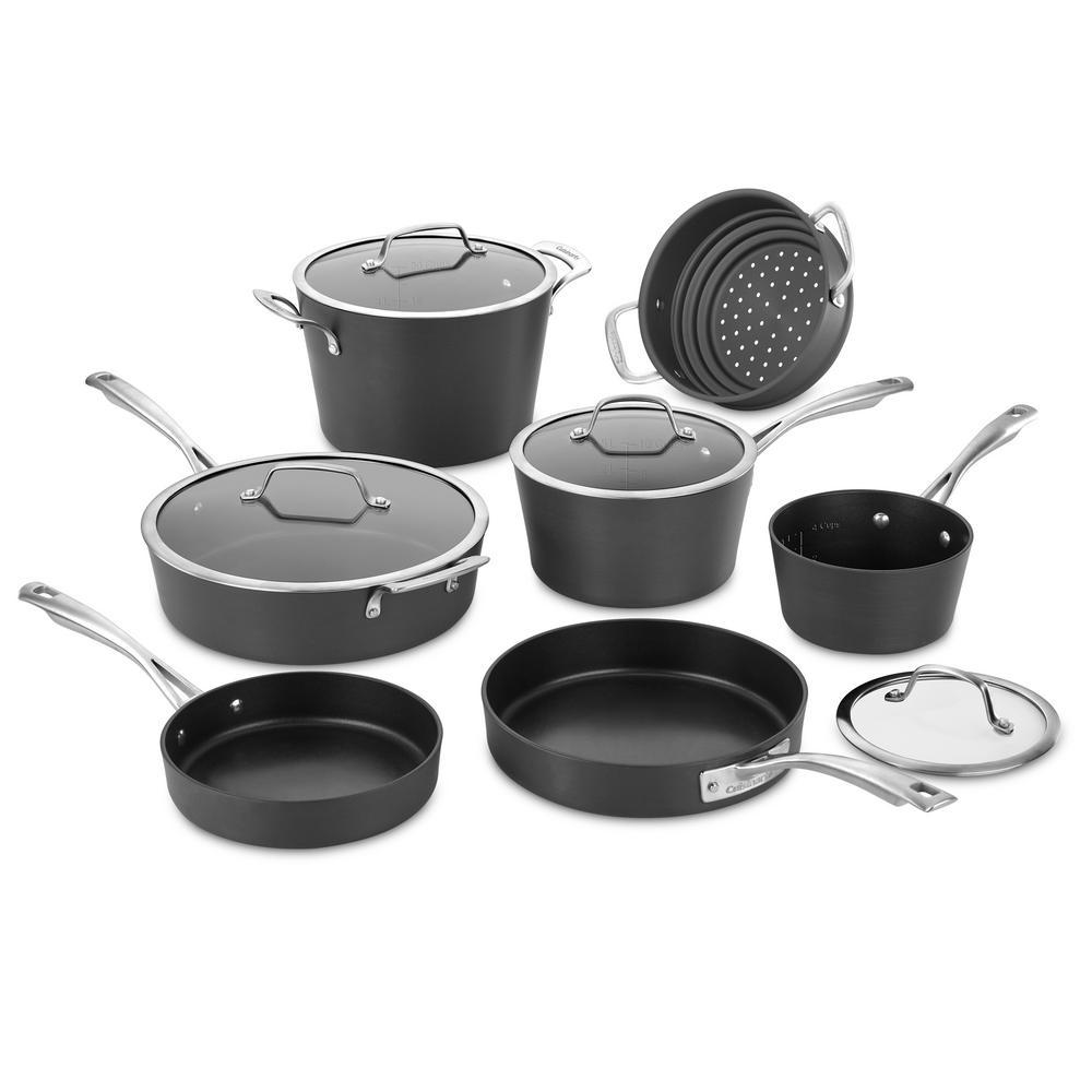 Conical 11-Piece Hard-Anodized Aluminum Nonstick Cookware Set in Dark Grey