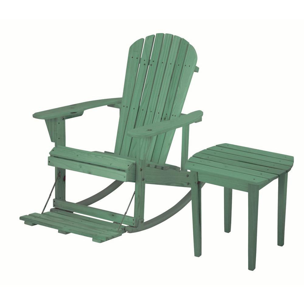 Zero Gravity Sea Green 2-Piece Wood Adirondack Rocking Chair Bistro Set