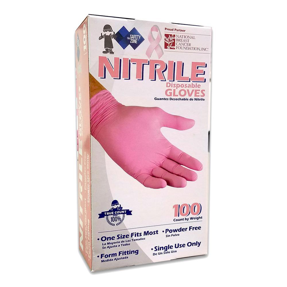 Medium Pink Nitrile Powder-Free Glove (10-Pack of 100-Count)
