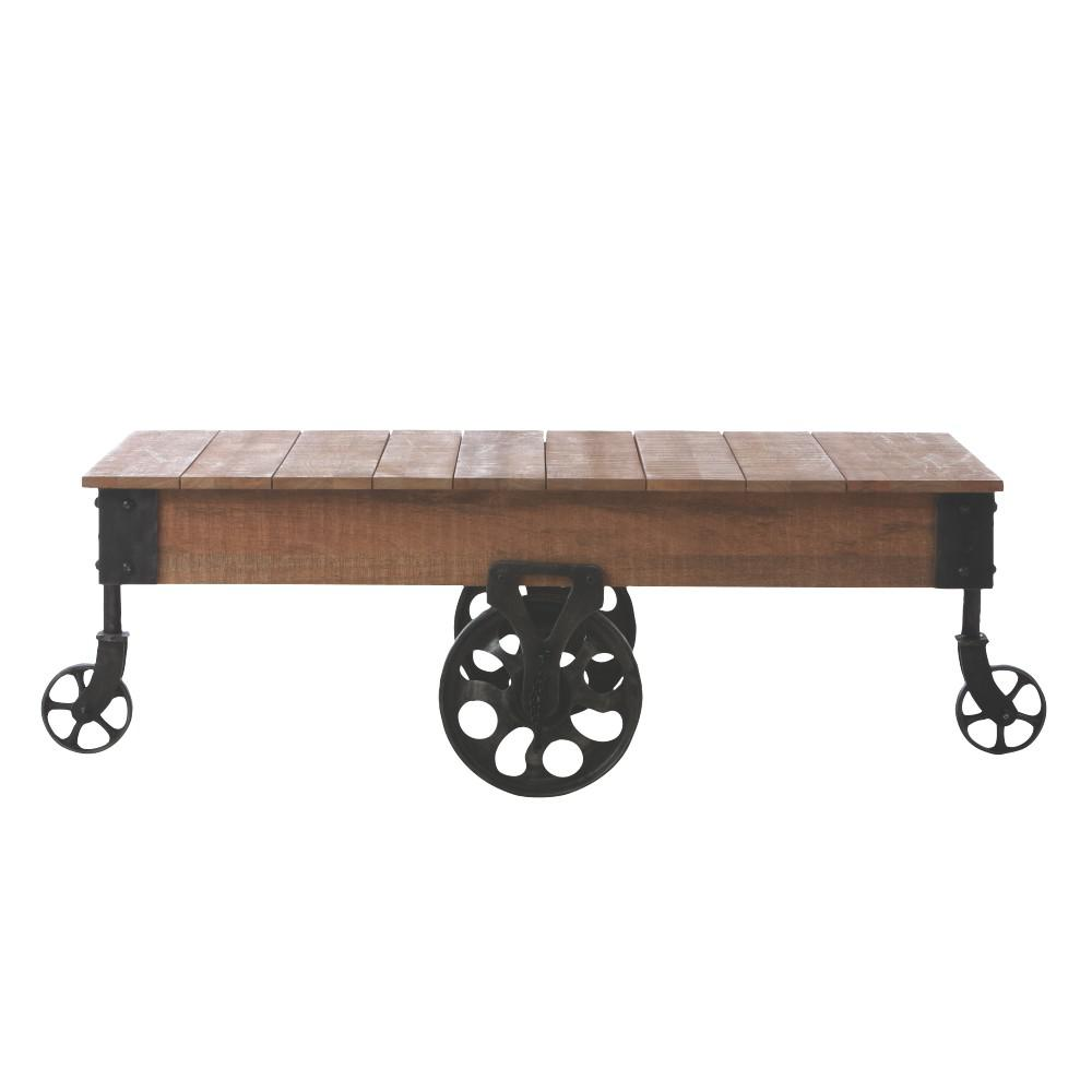 Home Decorators Collection Holden Distressed Natural Mobile Coffee Table 6230000950 The Home Depot