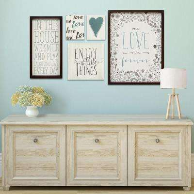 "Stratton Home Decor ""Love is Forever"" Decorative Sign (Set of 5)"