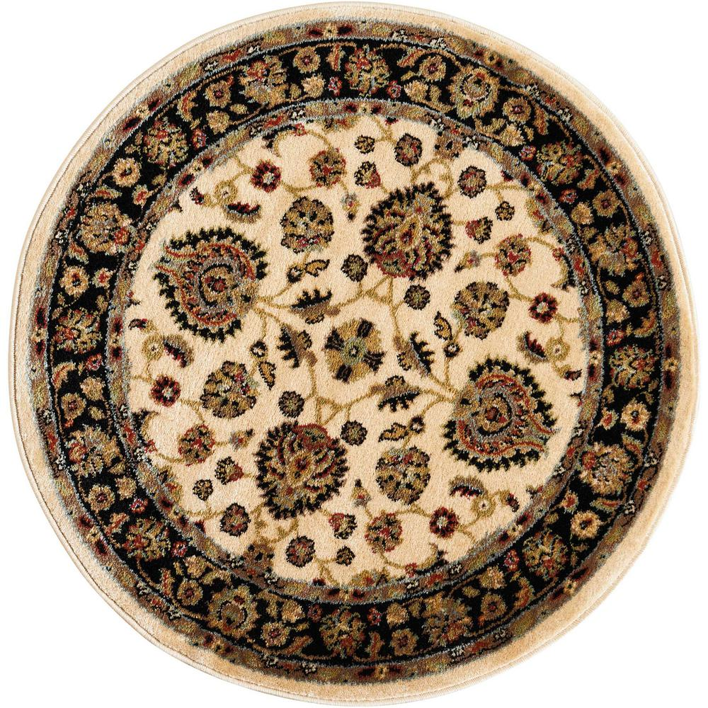Nourison Delano Ivory/Black 3 Ft. 4 In. Round Area Rug