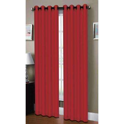 Semi-Opaque Raphael Heathered Faux Linen 54 in. W x 84 in. L Grommet Extra Wide Curtain Panel in Crimson