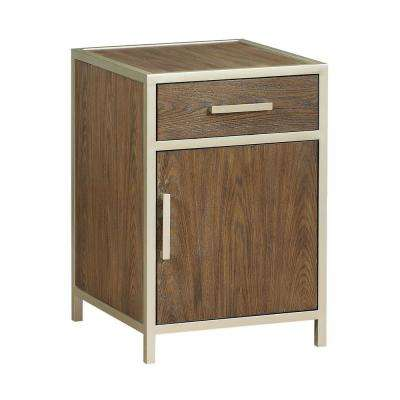 Balboa Brown and Gold 1-Door 1-Drawer Chairside Cabinet