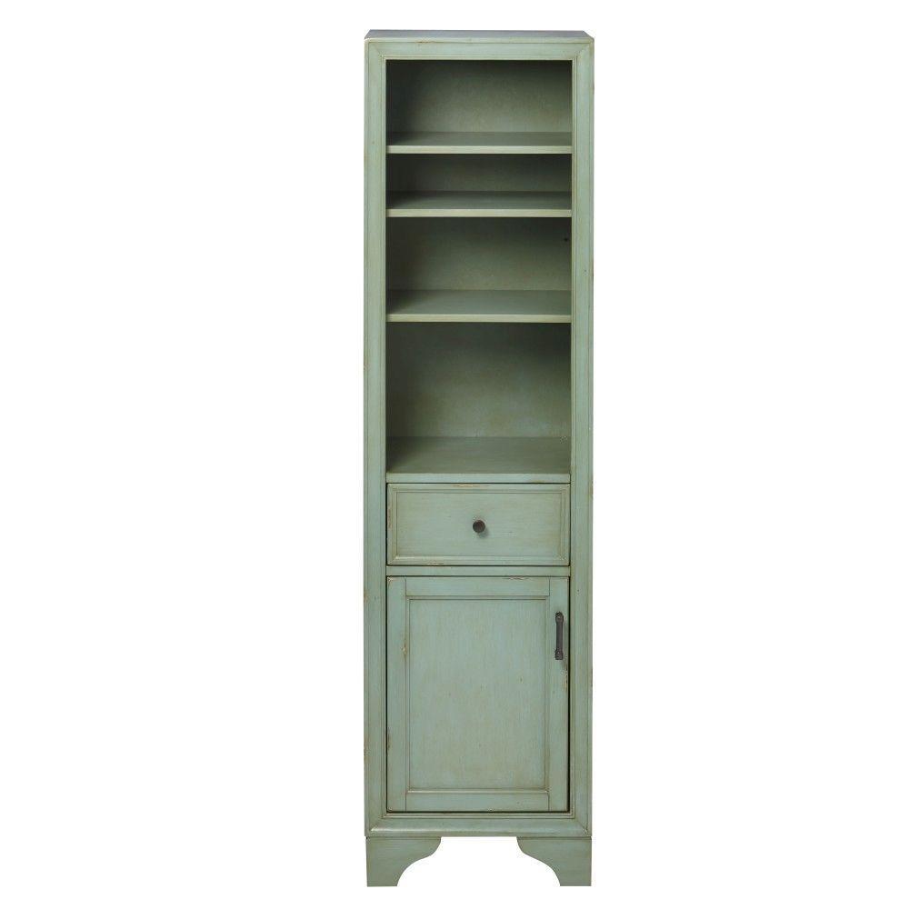 Hazelton 18 in. W x 15 in. D x 67-1/2 in. H Bathroom Linen Cabinet in Antique Green