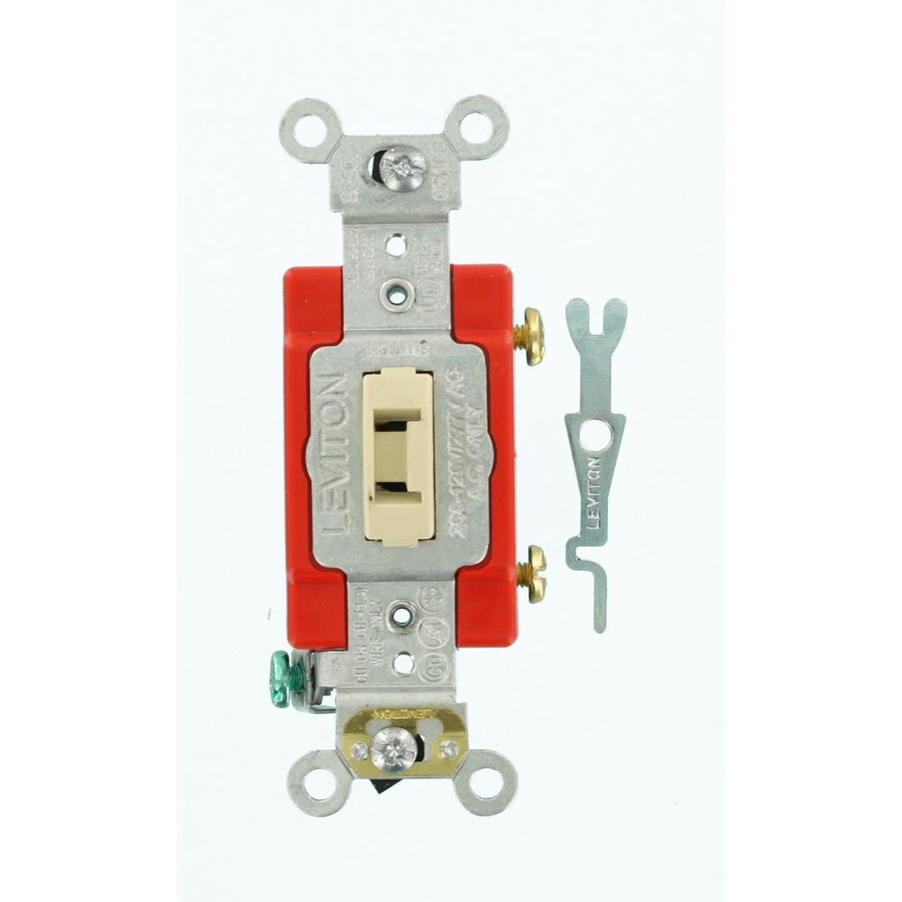20 Amp Industrial Grade Heavy Duty Single-Pole Locking Toggle Switch, Ivory
