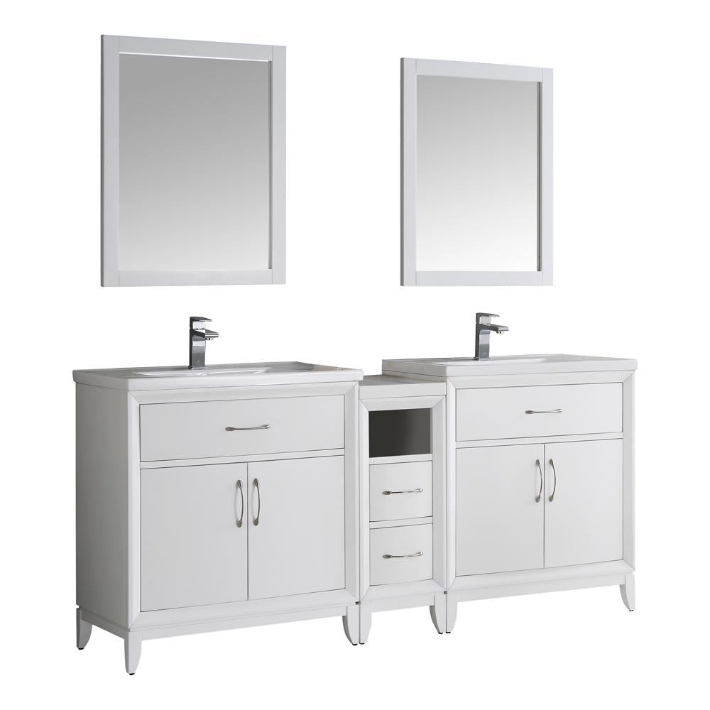 Fresca Cambridge 72 in. Vanity in White with Porcelain Vanity Top in White with White Ceramic Basins and Mirror